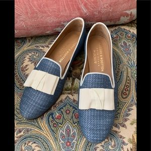 Stubbs and Wooten for J.crew Blue Raffia Slippers